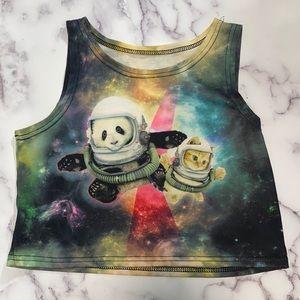 Panda Cat Space Crop Top Tank funny Printed Fun